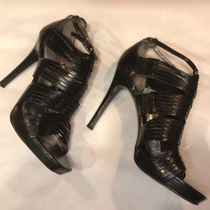 Calvin Klein Leather Black Gladiator Heel Size 8.5